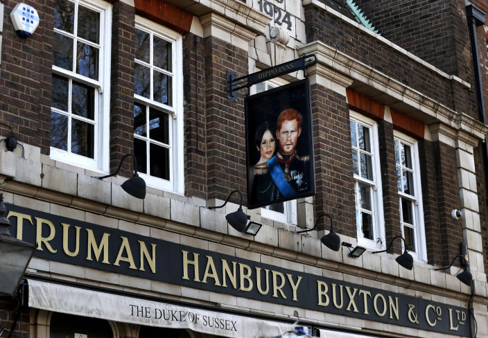 Image: The Duke of Sussex pub near London's Waterloo station (Frank Augstein / AP)
