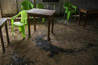 A tavern in San Miguel del Ene still bears the bloody evidence of a massacre of civilians blamed on Shining Path guerrillas (AFP/Ernesto BENAVIDES)
