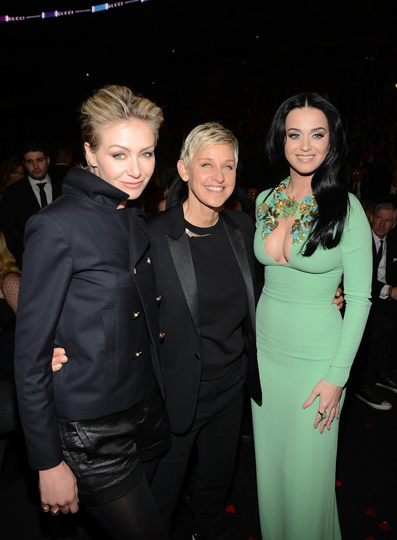 Ellen and Katy Perry attend the 55th Annual GRAMMY Awards at STAPLES Center on February 10, 2013 in Los Angeles, California.
