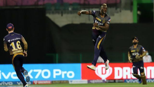 Andre Russell of Kolkata Knight Riders celebrates the wicket of AB de Villiers of Royal Challengers Bangalore during match 31 of the Vivo Indian Premier League between the KOLKATA KNIGHT RIDERS and the ROYAL CHALLENGERS BANGALORE held at the Sheikh Zayed Stadium, Abu Dhabi in the United Arab Emirates on the 20th September 2021 Photo by Faheem Hussain / Sportzpics for IPL