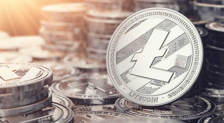 Image of a Litecoin in front of many stacks of Litecoins