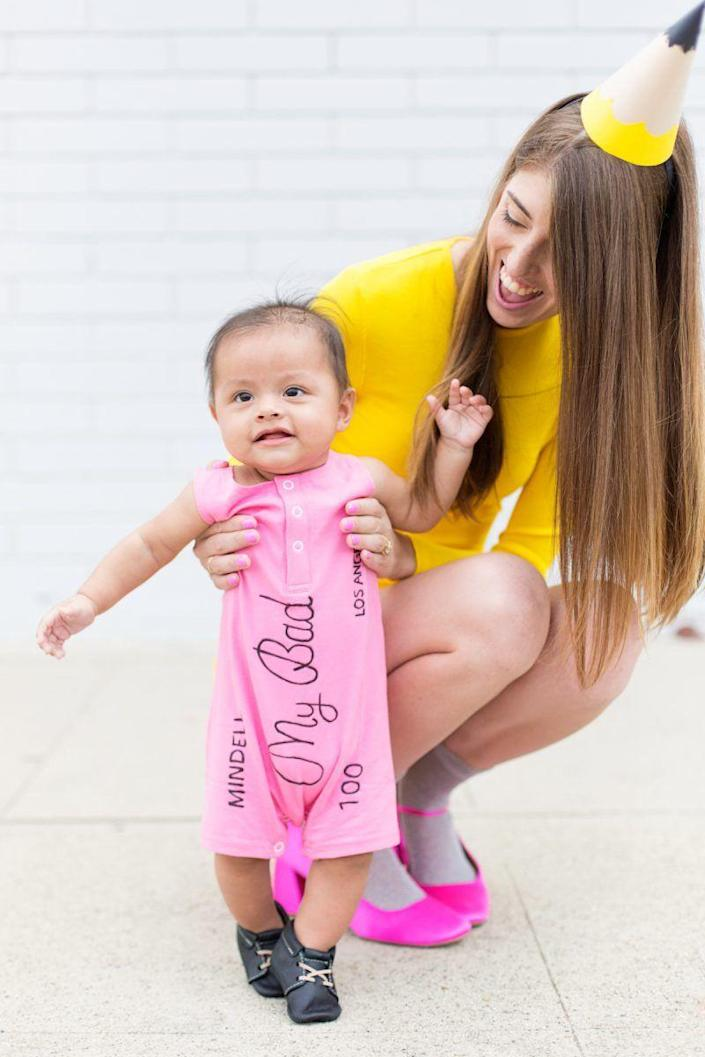"""<p>Get to the point by DIYing these easy pencil and eraser costumes. All you'll need for your little girl's ensemble is a pink one-piece and a black fabric marker. </p><p><strong>See more at <a href=""""https://studiodiy.com/diy-school-supplies-family-costume/"""" rel=""""nofollow noopener"""" target=""""_blank"""" data-ylk=""""slk:Studio DIY!"""" class=""""link rapid-noclick-resp"""">Studio DIY!</a>. </strong></p><p><a class=""""link rapid-noclick-resp"""" href=""""https://www.amazon.com/Creative-Converting-20PH-0010-Assorted-8-Pack/dp/B001GQK23M/ref=as_li_ss_tl?tag=syn-yahoo-20&ascsubtag=%5Bartid%7C2164.g.37079496%5Bsrc%7Cyahoo-us"""" rel=""""nofollow noopener"""" target=""""_blank"""" data-ylk=""""slk:SHOP PARTY HATS"""">SHOP PARTY HATS</a></p>"""