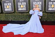 """<p><i>A Star Is Born</i> actress Lady Gaga, nominated for her role in the film and for the movie's song """"Shallow,"""" hit the red carpet in a lavender Valentino gown with tresses to match. The singer was <a rel=""""nofollow noopener"""" href=""""https://www.etonline.com/lady-gaga-didnt-know-she-was-channeling-judy-garlands-a-star-is-born-look-at-2019-golden-globes"""" target=""""_blank"""" data-ylk=""""slk:happily surprised"""" class=""""link rapid-noclick-resp"""">happily surprised</a> to learn from a red carpet reporter that her look resembled one that Judy Garland wore in the 1954 version of <i>A Star Is Born</i>. (Photo: Getty Images) </p>"""