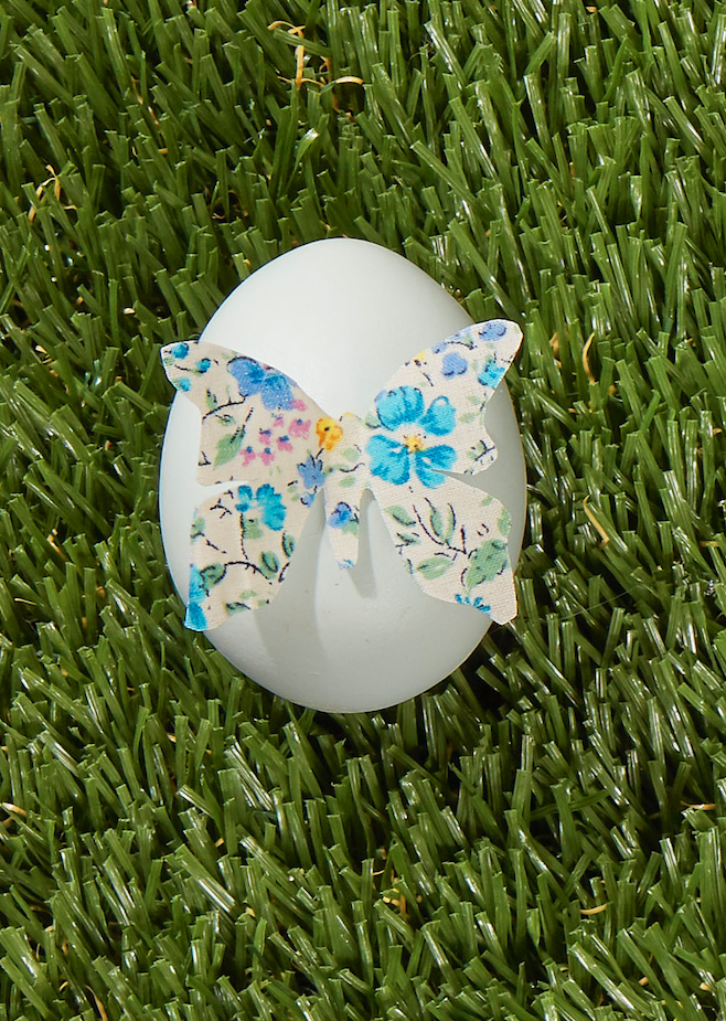 "<p>We can't get over this lovely design. To mimic the look, brush both sides of a small piece of ditsy floral fabric with Mod Podge, then hang it to dry. Draw a butterfly on stiffened fabric and cut out, then hot-glue the beautiful creature to a natural or dyed egg.</p><p><a class=""link rapid-noclick-resp"" href=""https://www.amazon.com/Butterfly-Scrapbook-Doraking-Decoration-Illustration/dp/B07XJ41FNG?tag=syn-yahoo-20&ascsubtag=%5Bartid%7C10050.g.1282%5Bsrc%7Cyahoo-us"" rel=""nofollow noopener"" target=""_blank"" data-ylk=""slk:SHOP BUTTERFLY STICKERS"">SHOP BUTTERFLY STICKERS</a></p>"