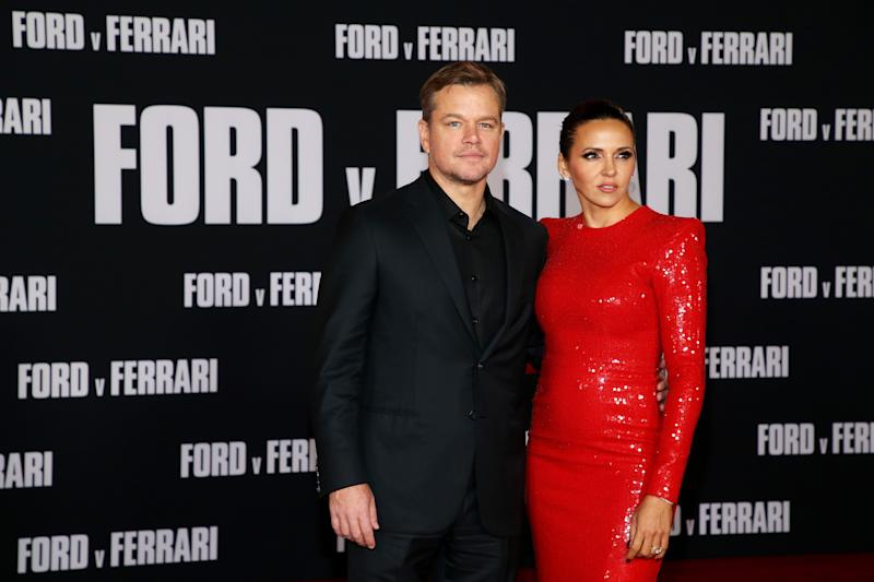 "HOLLYWOOD, CALIFORNIA - NOVEMBER 04: (L-R) Matt Damon and Luciana Barroso attend the premiere of FOX's ""Ford V Ferrari"" at TCL Chinese Theatre on November 04, 2019 in Hollywood, California. (Photo by Phillip Faraone/FilmMagic)"