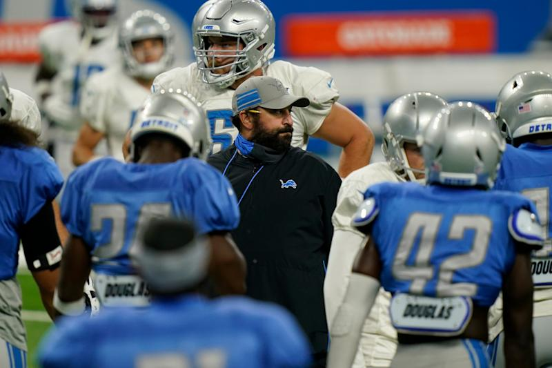 Detroit Lions head coach Matt Patricia talks to his team during drills at practice Wednesday, Sept. 2, 2020 at Ford Field.