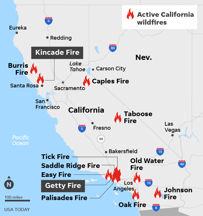 SOURCE CAL FIRE, as of 8 a.m. Oct. 30; ESRI