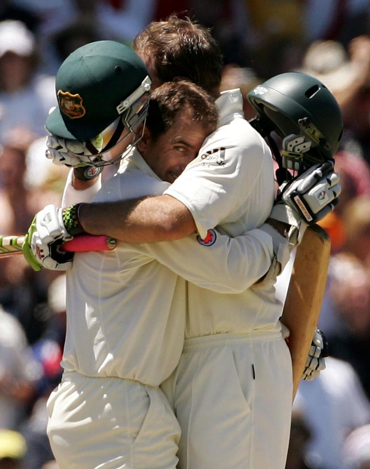 SYDNEY, AUSTRALIA - JANUARY 05:  Justin Langer hugs Australian team mate Matthew Hayden after Australia beat England on day four of the fifth Ashes Test Match between Australia and England at the Sydney Cricket Ground on January 5, 2007 in Sydney, Australia. Australia won the series 5-0 for the first time in over 80 years.  (Photo by Hamish Blair/Getty Images)