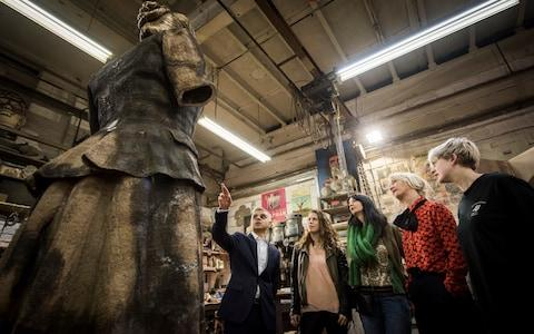 The Mayor visits the foundry where the statue was made with Caroline Criado-Perez (second left), Gillian Wearing (centre) and deputy mayor Justine Simons (second from right) - Credit: Greater London Authority/Caroline Teo