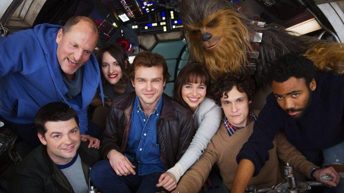 Chris Miller and Phil Lord with the cast of Solo (Credit: Disney)