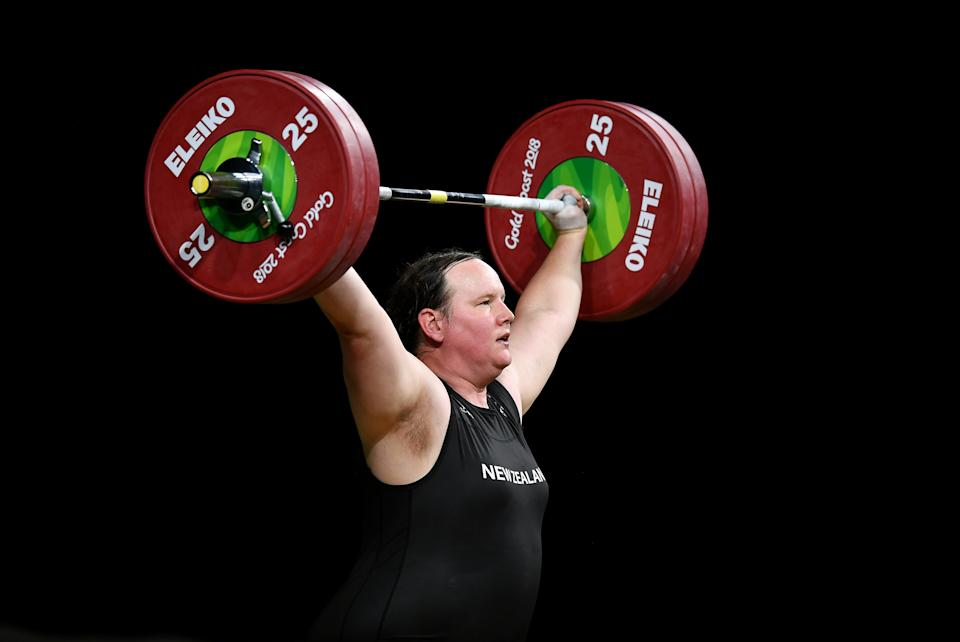 GOLD COAST, AUSTRALIA - APRIL 09:  Laurel Hubbard of New Zealand competes in the Women's +90kg Final during the Weightlifting on day five of the Gold Coast 2018 Commonwealth Games at Carrara Sports and Leisure Centre on April 9, 2018 on the Gold Coast, Australia. (Photo by Dan Mullan/Getty Images)