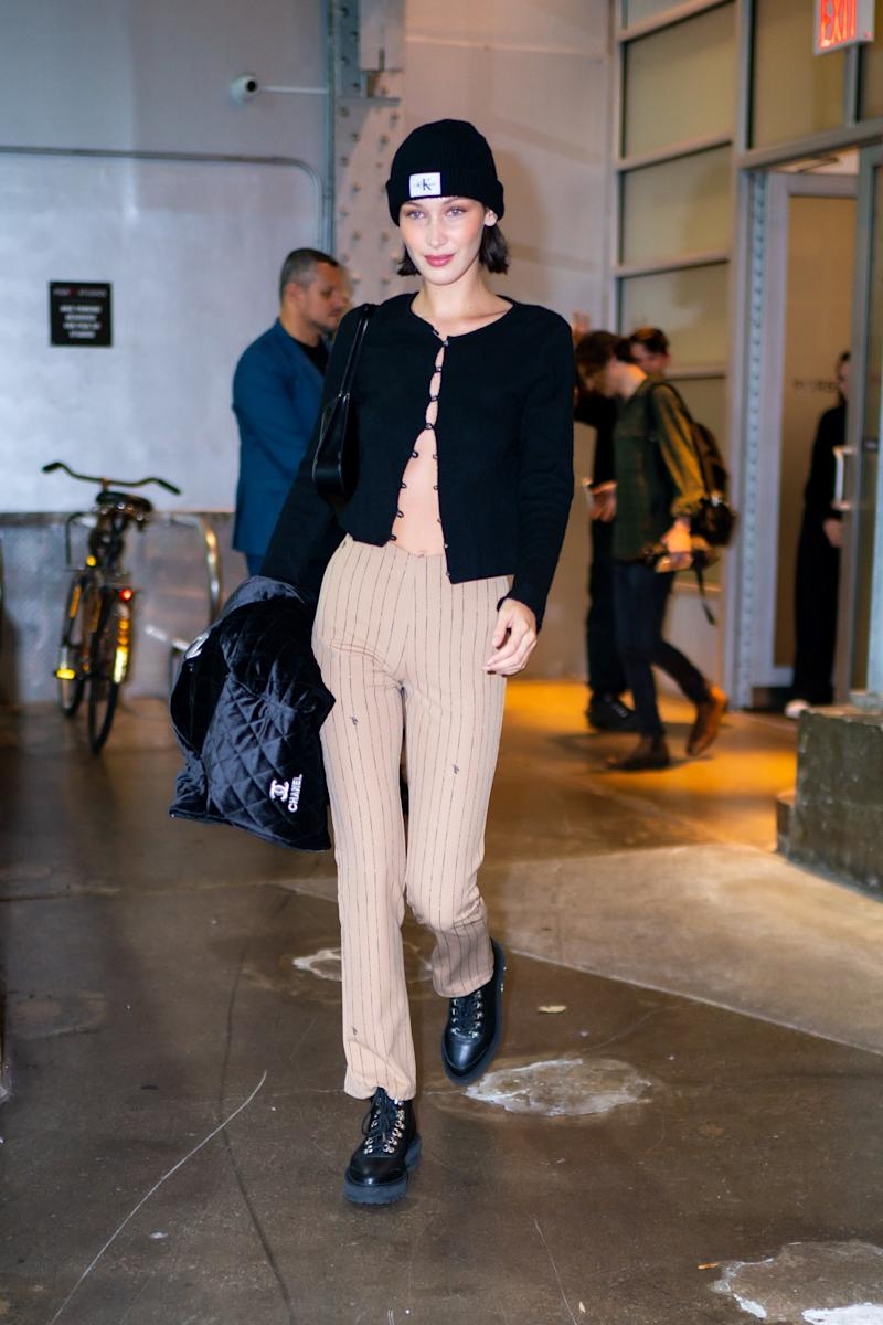 Bella Hadid Shows How to Glam Up a Simple Beanie—Just in Time for Fall