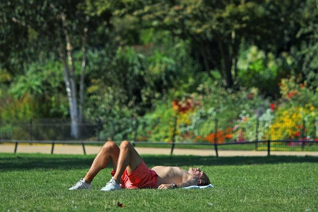 Soaking up the rays in St James Park, London