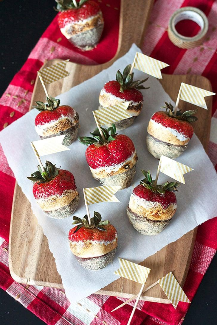 "<p>For something a bit unexpected, try <a href=""http://www.ericasweettooth.com/2015/06/smores-chocolate-covered-strawberries.html"" class=""link rapid-noclick-resp"" rel=""nofollow noopener"" target=""_blank"" data-ylk=""slk:s'mores chocolate-covered strawberries"">s'mores chocolate-covered strawberries</a>.</p>"