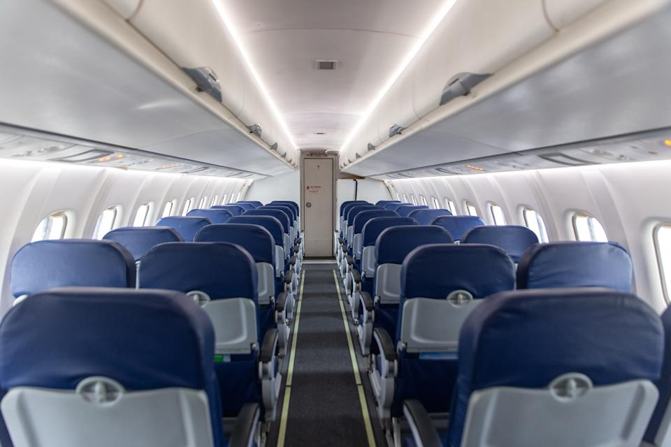 In a pandemic, airplanes often fly empty - inside plane