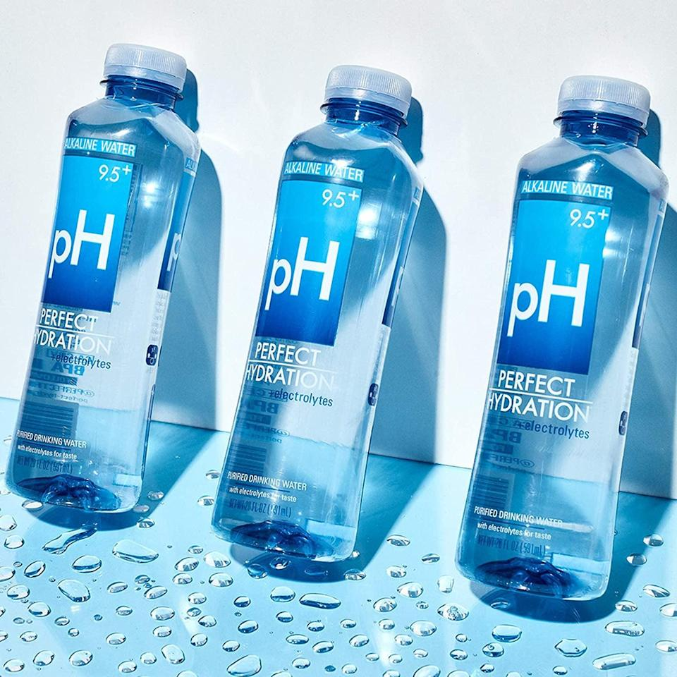 <p>Replenish yourself throughout the day with the <span>Perfect Hydration 9.5+ pH Electrolyte Enhanced Drinking Water</span> ($25).</p>