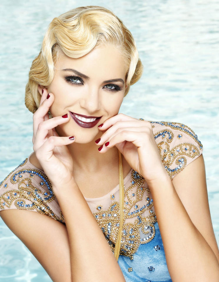 Miss Florida USA 2013, Michelle Aguirre, poses for fashion photographer Fadil Berisha in a 1920's Great Gatsby inspired wardrobe by Sherri Hill at the Planet Hollywood Resort and Casino, in Las Vegas Nevada.  Tune in to the crowning moment LIVE on NBC starting at 9:00 PM ET on June 16, 2013 from PH Live.