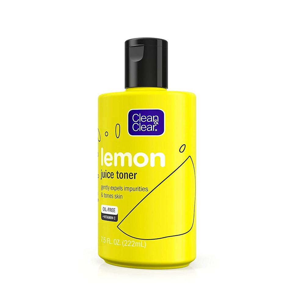 """<p>Some facial toners use alcohol to clear away dirt and oil, but it can seriously dry skin out. Clean & Clear's Lemon Juice Toner does the exact same thing, sans the stripping alcohol. There's also vitamin C in this <a href=""""https://www.allure.com/story/best-of-beauty-awards-2020?mbid=synd_yahoo_rss"""" rel=""""nofollow noopener"""" target=""""_blank"""" data-ylk=""""slk:Allure Best of Beauty 2020"""" class=""""link rapid-noclick-resp""""><em>Allure</em> Best of Beauty 2020</a> winner to help brighten and even dullness and dark spots.</p> <p><strong>$6</strong> (<a href=""""https://www.amazon.com/Clean-Clear-impurities-Alcohol-Free-Cleansing/dp/B07GT8R37H"""" rel=""""nofollow noopener"""" target=""""_blank"""" data-ylk=""""slk:Shop Now"""" class=""""link rapid-noclick-resp"""">Shop Now</a>)</p>"""