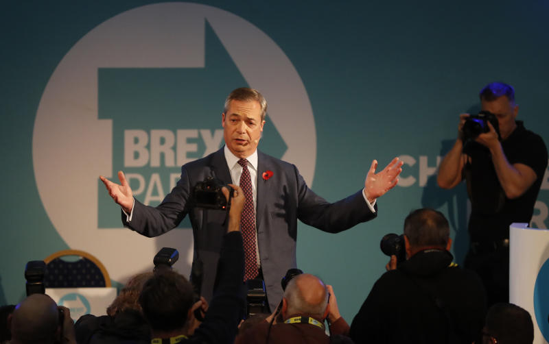 Brexit Party leader Nigel Farage speaks at a meeting to introduce his party's Parliamentary Candidates (PPC) ahead of the upcoming general election, in Westminster, London, Monday Nov. 4, 2019. Britain's election campaign heated up Sunday with Prime Minister Boris Johnson saying he would apologize to Conservatives for failing to take the U.K. out of the European Union by Oct. 31 and Brexit Party leader Nigel Farage saying he won't personally run for a seat in Parliament. (AP Photo/Alastair Grant)