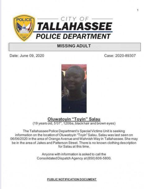 PHOTO: A missing poster released by Tallahassee Police of Oluwatoyin Salau. (Tallahassee Police Department)