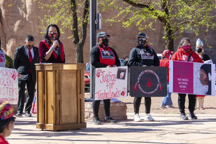 In this image provided by the Navajo Nation Office of the Speaker, Dottie Lizer, the wife of Navajo Nation Vice President Myron Lizer, addresses a crowd gathered, Wednesday, May 5, 2021, in Window Rock, Ariz., during an event to commemorate a day of awareness for the crisis of violence against Indigenous women and children. (Byron C. Shorty, Navajo Nation Office of the Speaker via AP)