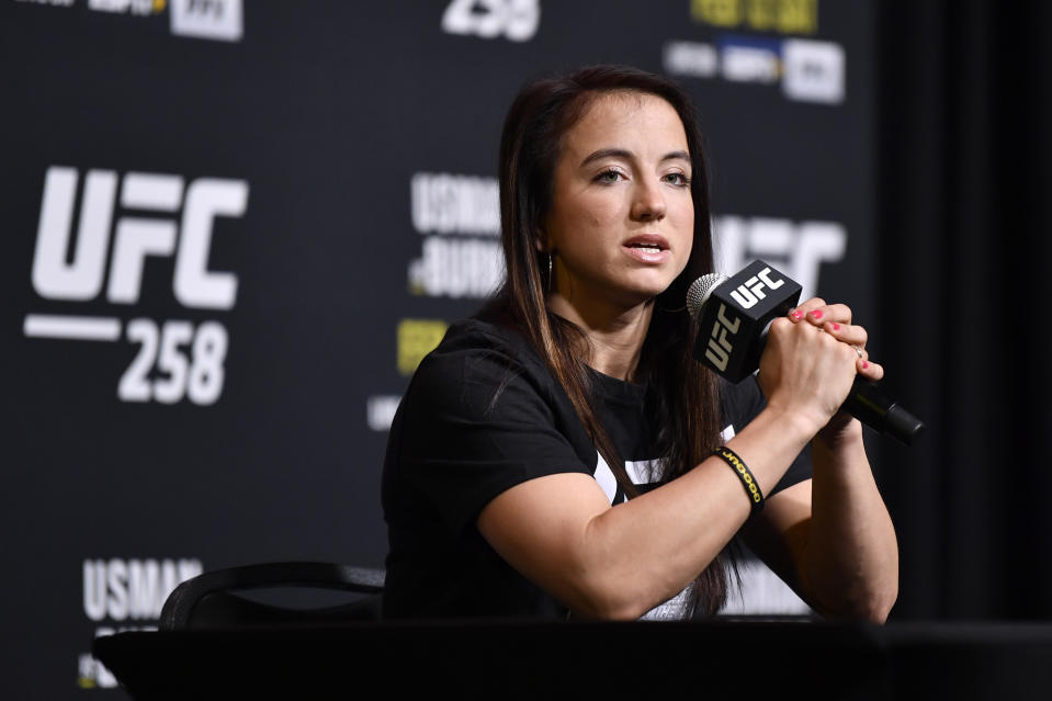 LAS VEGAS, NEVADA - FEBRUARY 10:  Maycee Barber speaks to the media during the UFC 258 Media Day at UFC APEX on February 10, 2021 in Las Vegas, Nevada. (Photo by Chris Unger/Zuffa LLC)