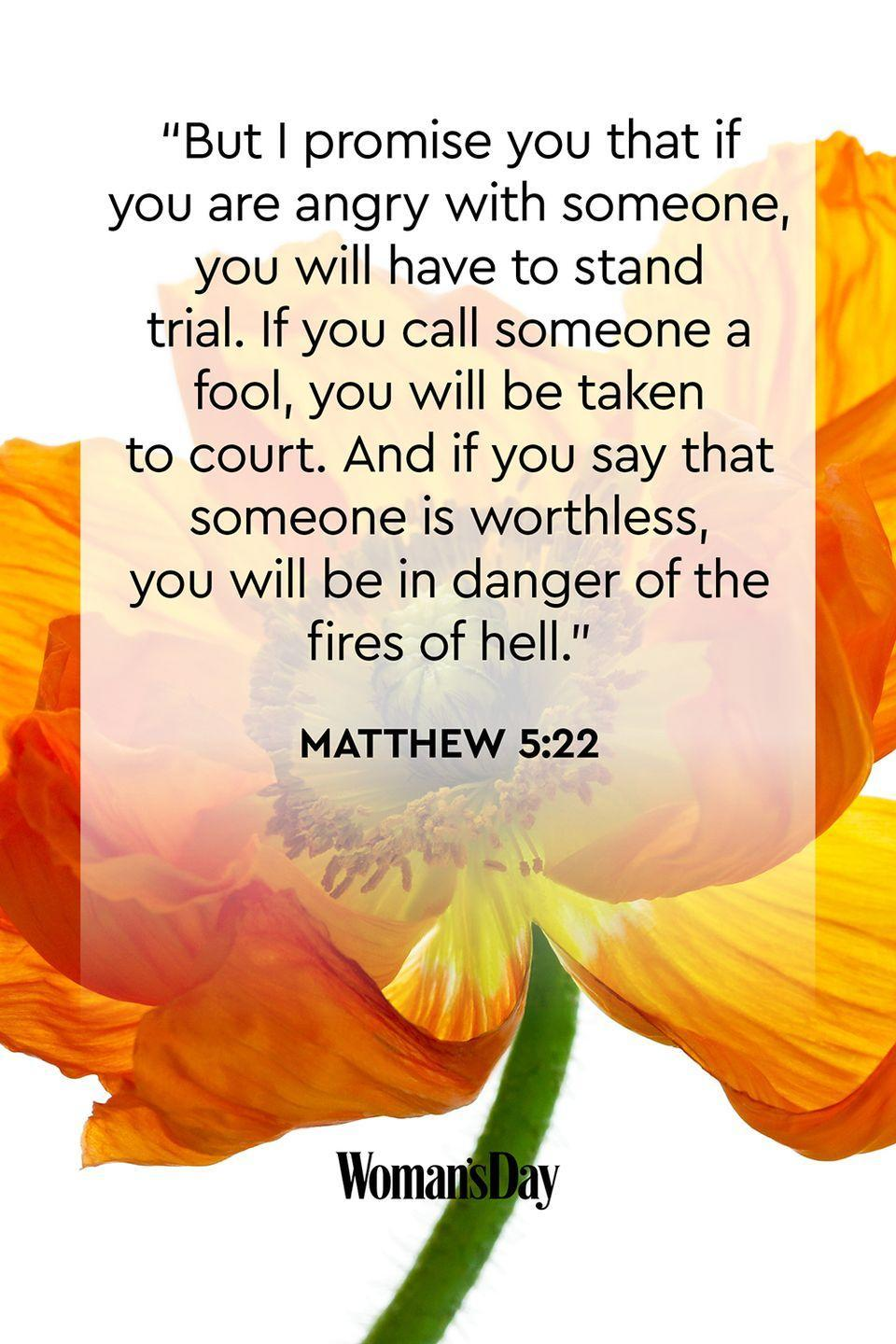"""<p>""""But I promise you that if you are angry with someone, you will have to stand trial. If you call someone a fool, you will be taken to court. And if you say that someone is worthless, you will be in danger of the fires of hell.""""</p><p><strong>The Good News</strong>: All actions have consequences, especially if you act out of anger and pettiness. </p>"""
