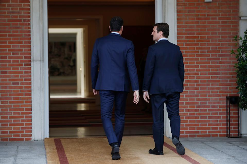 Spanish President Pedro Sanchez during a meeting with politician Pablo Casado at MoncloaPalace in Madrid on Monday , 06 May 2019. (Photo: Sergio R Moreno / GTRES)