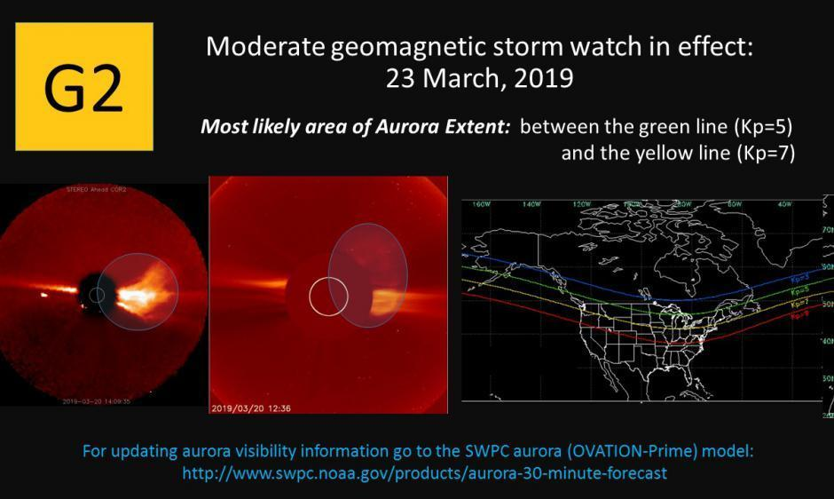 A geomagnetic storm is pushing the aurora borealis farther south this weekend. The National Oceanic and Atmospheric Administration's Space Weather Prediction Center forecasts where it may be visible on March 23