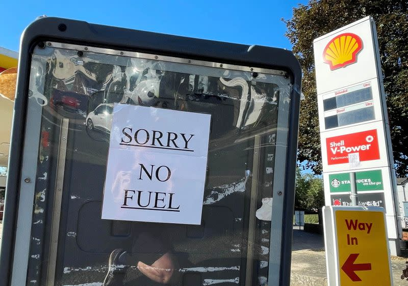 A sign informs customers that fuel has run out at a petrol station in Hemel Hempstead