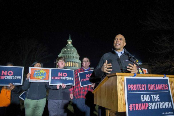 PHOTO: Sen. Cory Booker speaks at a rally outside the U.S. Capitol on Jan. 19, 2018 in Washington. (Tasos Katopodis/Getty Images, FILE)
