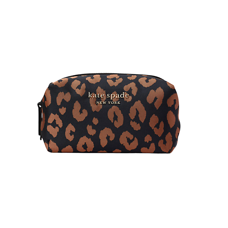 """This puffy <a href=""""https://www.glamour.com/gallery/best-makeup-bags?mbid=synd_yahoo_rss"""" rel=""""nofollow noopener"""" target=""""_blank"""" data-ylk=""""slk:cosmetics case"""" class=""""link rapid-noclick-resp"""">cosmetics case</a> is just right for anyone looking to streamline their top shelf. Its compact yet can fit plenty of <a href=""""https://www.glamour.com/story/best-long-lasting-lipsticks?mbid=synd_yahoo_rss"""" rel=""""nofollow noopener"""" target=""""_blank"""" data-ylk=""""slk:lipsticks"""" class=""""link rapid-noclick-resp"""">lipsticks</a>, <a href=""""https://www.glamour.com/story/kitten-eyeliner-trend?mbid=synd_yahoo_rss"""" rel=""""nofollow noopener"""" target=""""_blank"""" data-ylk=""""slk:eyeliners"""" class=""""link rapid-noclick-resp"""">eyeliners</a>, and other errant makeup supplies. $68, Kate Spade. <a href=""""https://www.katespade.com/products/the-little-better-everything-puffy-leopard-jacquard-medium-cosmetic-case/767883236727.html"""" rel=""""nofollow noopener"""" target=""""_blank"""" data-ylk=""""slk:Get it now!"""" class=""""link rapid-noclick-resp"""">Get it now!</a>"""