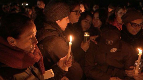PHOTO: People gather at Glen Island Park in New Rochelle, New York, for a vigil in honor of Valerie Reyes, whose body was found in a suitcase along a Connecticut road, Feb. 7, 2019. (ABC News)