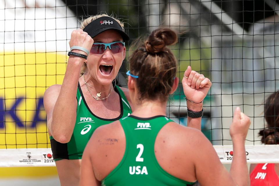 Kerri Walsh Jennings (L) and Brooke Sweat of the United States react in the Womens Pool F match against Miki Ishii and Megumi Murakami of Japan on day three of the FIVB Volleyball World Tour Tokyo, Tokyo 2020 Olympic Games Test Event, at Shiokaze Park on July 26, 2019.