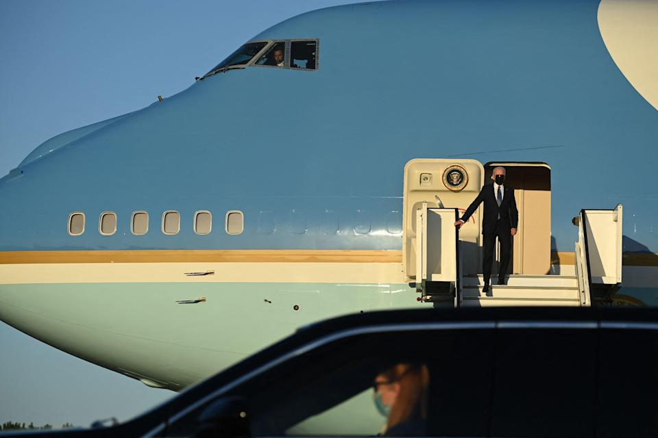 President Joe Biden arrives at Melsbroek Military Airport, near  Brussels on June 13, 2021, for two days of summits with leaders from the NATO military alliance and the European Union.