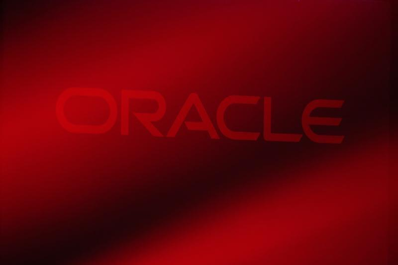 Oracle Corporation logo is seen on stage prior to the announcement of the company's latest SPARC servers at Oracle Conference Center in Redwood Shores