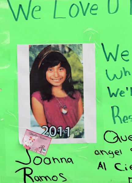 A photo of Joanna Ramos, 10,with a note,  is left at a memorial outside Willard Elementary school  in Long Beach, Calif. on Monday Feb. 27, 2012.  Ramos, who died after a fight with an 11-year-old in an alley near their elementary school underwent emergency surgery for a blood clot on her brain before her death, her sister said Monday. (AP Photo/Nick Ut)