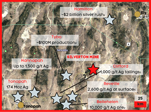 Silverton area map including other mines in the area.
