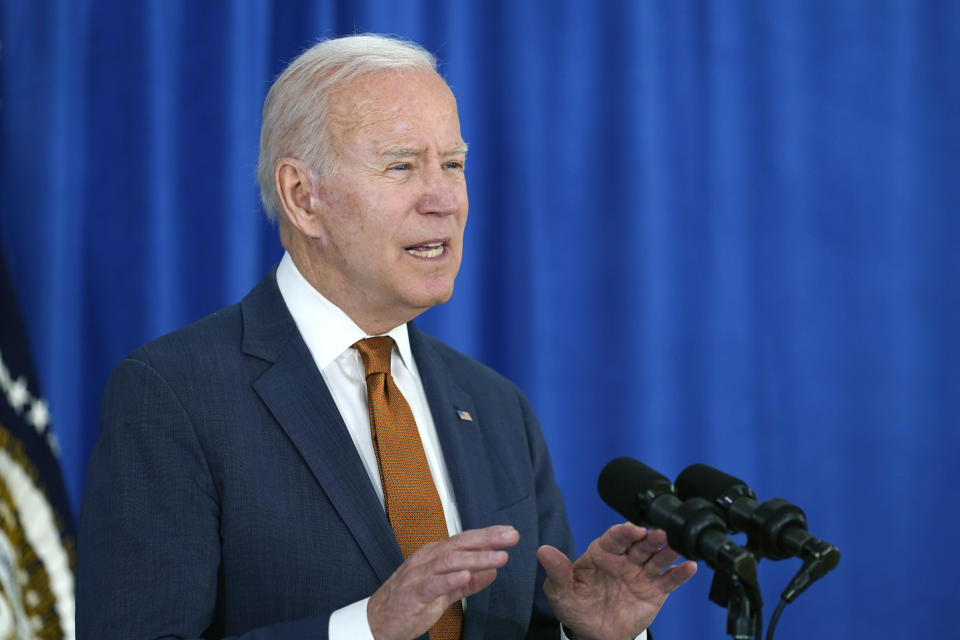 President Joe Biden talks about the May jobs report from the Rehoboth Beach Convention Center in Rehoboth Beach, Del., Friday, June 4, 2021. (AP Photo/Susan Walsh)