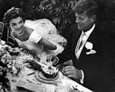 <p>John and Jackie Kennedy at their wedding in Newport, Rhode Island. </p>