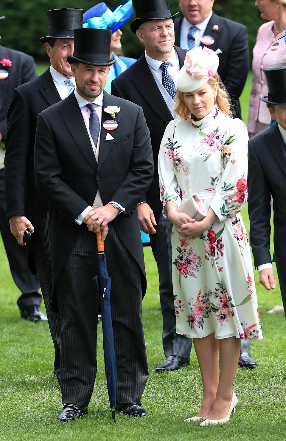 """Autumn wore a £795 ivory floral dress with keyhole detailing by <a href=""""https://fave.co/2Y4JLom"""" rel=""""nofollow noopener"""" target=""""_blank"""" data-ylk=""""slk:Claire Mischevani"""" class=""""link rapid-noclick-resp"""">Claire Mischevani</a> with a hat by Bee Smith. <em>[Photo: PA]</em>"""
