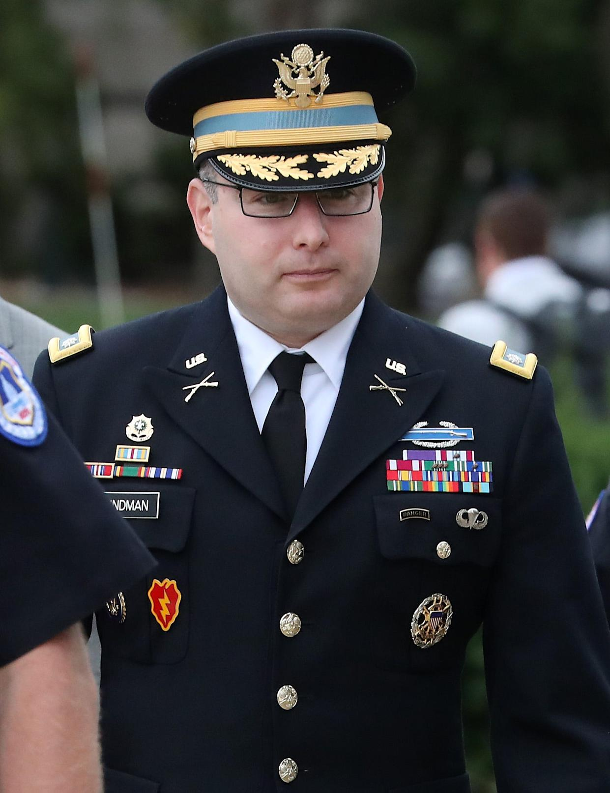 Army Lt. Col. Alexander Vindman, director for European Affairs at the National Security Council arrive on Capitol Hill on Oct. 29, 2019.