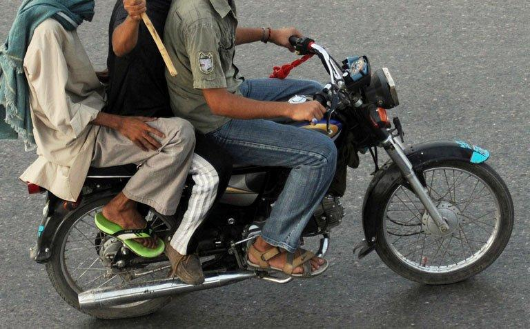 A motorcycle pictured during a protest in Karachi on September 18, 2012