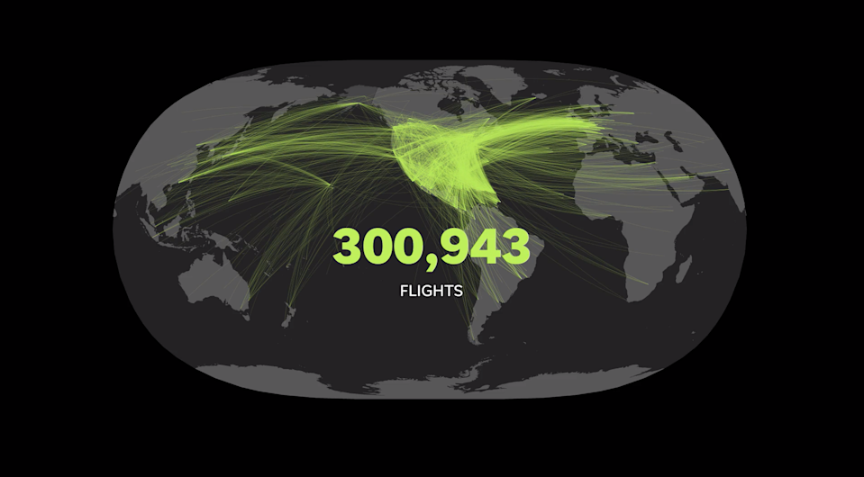 Over 300,000 international flights arrived in the U.S. from Jan. 1 through April 30, 2020.