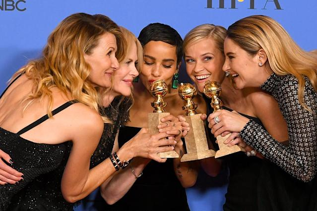 <p>The <em>Big Little Lies </em>ladies huddled close in the press room after the female-centered HBO series took home the statue for Best Television Limited Series or Motion Picture Made for Television. (Photo: Kevin Winter/Getty Images) </p>