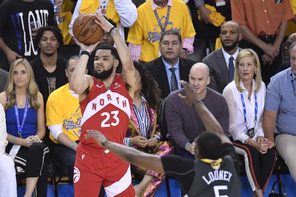 Toronto Raptors guard Fred VanVleet set a record for most threes made off the bench in NBA Finals history. (Frank Gunn/The Canadian Press via AP)