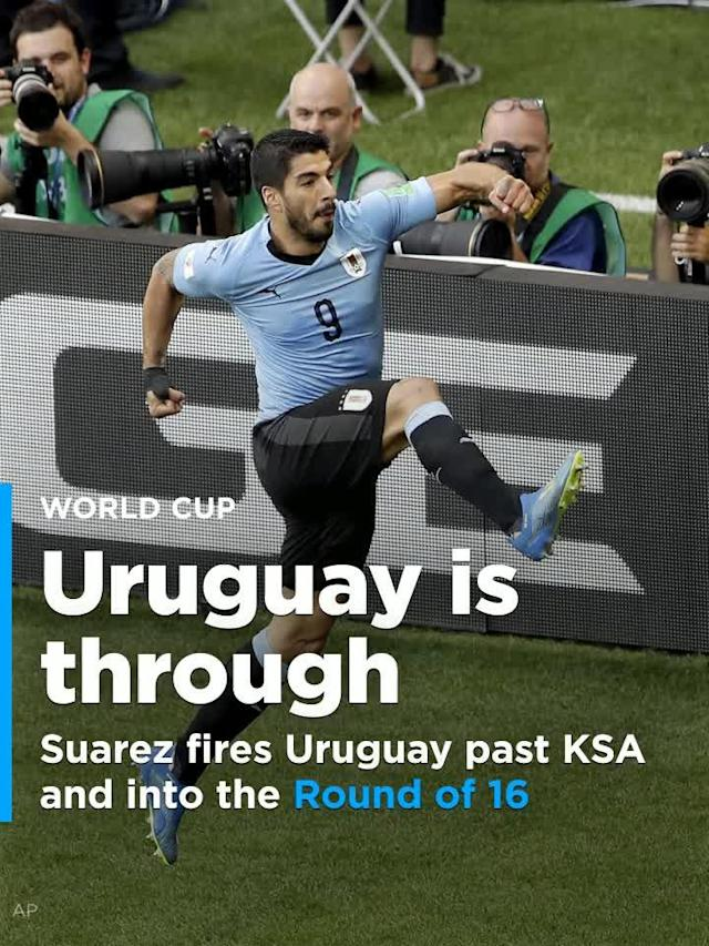 Luis Suarez kept his teeth to himself and let his boots do the talking as he scored the only goal in an otherwise drab 1-0 win over Saudi Arabia. The result saw Uruguay book its passage to the Round of 16, right behind host nation Russia.