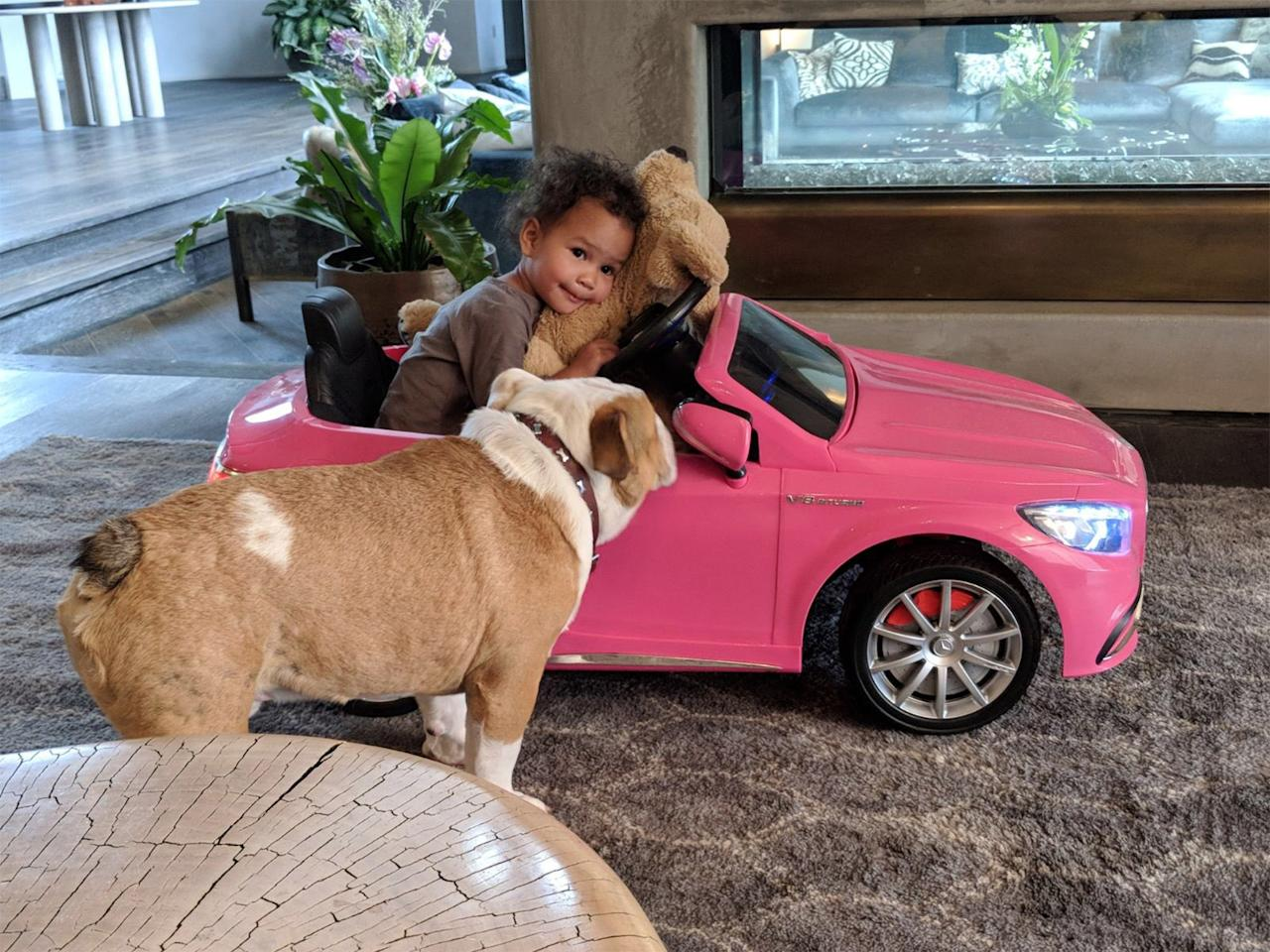 Miles' sister Luna has a Mercedes of her own, though hers is hot pink and built for nap time.