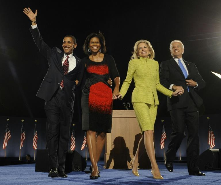 The Obamas and the Bidens celebrate on Election Night in November 2008 -- Jill Biden was America's Second Lady for eight years