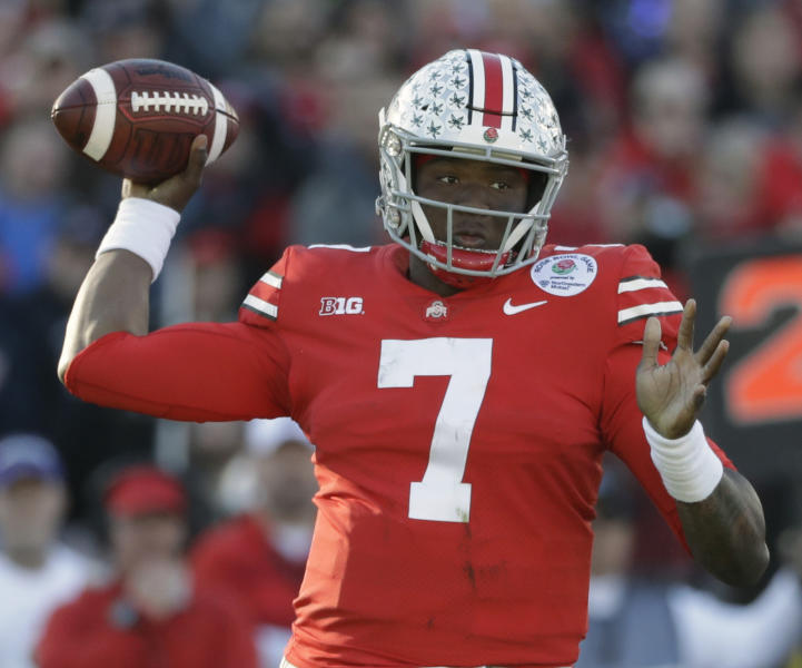 FILE - In this Jan. 1, 2019, file photo, Ohio State quarterback Dwayne Haskins passes during the first half of the Rose Bowl NCAA college football game against Washington, in Pasadena, Calif.The Washington Redskins had their sights set on Dwayne Haskins and didnt even have to trade up to get their quarterback of the future. Washington selected the Ohio State standout with the 15th pick in the NFL draft, Thursday, April 25, 2019. (AP Photo/Jae C. Hong, File)